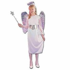Medium Girls Angel Costume - Fancy Dress Christmas Nativity Budget White
