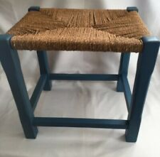 Vintage Wooden Stool Footstool With Woven Cord Seat Painted Blue Country Style