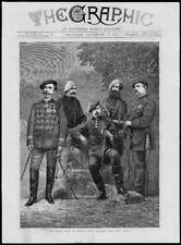 1874 - Antique Print SPAIN Civil War Don Carlos Staff Soldier Sword   (217)
