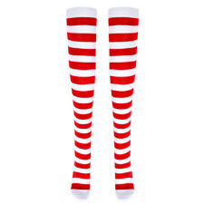 Womens Christmas Cotton Extra Long Striped Socks Over Knee High Opaque Stockings