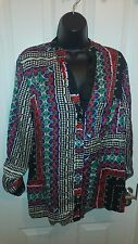 RIVER ISLAND BLACK RED GREEN WHITE BLUE TOP - UK Size 14