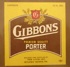 OLD USA BEER LABEL, LION BREWERY WILKES BARRE PENNSYLVANIA, GIBBONS PORTER