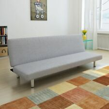 Futon Sofa Bed Convertible Couch Living Room Dorm Sleeper Lounge Light Gray