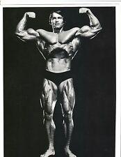 ARNOLD SCHWARZENEGGER 7x Mr Olympia Double Bicep Pose Muscle Photo B&W