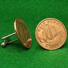 British George VI Vintage Half Penny Coin Cufflinks, Golden Hind, England UK