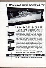 1954 Vintage Ad Scottie-Craft Outboard Express Cruiser Boats Miami,FL