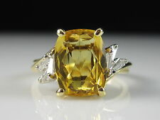 18K Golden Beryl G/VS1 Baguette Diamond Ring Yellow Gold Fine Jewelry Estate