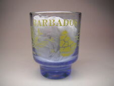 BARBADOS BLUE SHOT GLASS WITH YELLOW WRITING