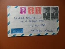cover Sao Paulo Brazil uncancelled 1958(?) addressed Kenya used.