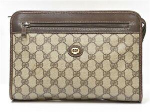 Auth old GUCCI Men Clutch Bag Handbag Business Pouch Organizer PVC GG 18626303
