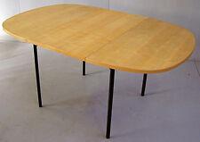 FRANCE 1950, TABLE DE SALLE A MANGER ,PIETEMENT EN FER LAQUE, PLATEAU en frêne
