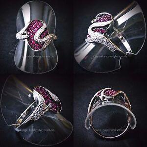 Exzellenter Rubin Weißtopas Cluster Designer Ring 925 Silber rhodiniert 19,1 mm