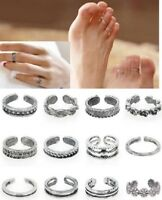 SET OF 12 SILVER TONE TOE RINGS ADJUSTABLE TO FIT MOST SIZES - UK SELLER - SET A