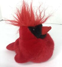 "Vintage Cardinal Bird Plush 5"" Stuffed Animal Toy Audubon K&M Toys Sounds Works"