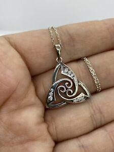 Sterling Silver Solvar Celtic Cubic Zirconia Pendant Necklace