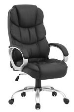 Executive Office Chair Rolling Heavy Duty Bonded Black Pu Leather High Back Seat
