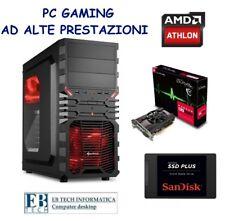 PC GAMING ASSEMBLATO AMD ATHLON X4 + RADEON RX 550 + SSD 240GB + 8GB RAM 4K RED