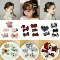 5Pcs/Set Sequins Bow Hair Clips Hairpin Baby Girls Faux Leather Hair Accessories