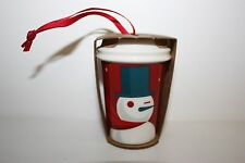 Starbucks Ceramic To-Go Cup Holiday, Snowman Winking Oramments 2012