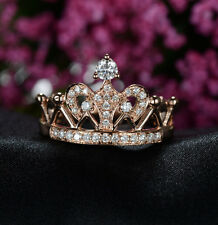 Excellent Crown Style Women Engagement Ring Solid 18K Rose Gold Ring For Bride