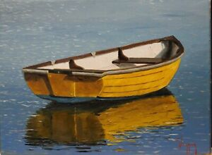 """Marine seascape boat and reflection oil paintings signed stretched canvas 9""""x12"""""""