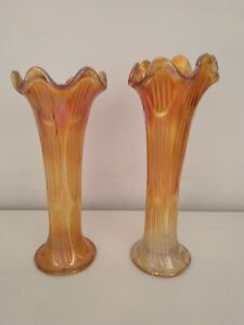 Two Carnival Glass Vases 11 Inch & 10 Inch