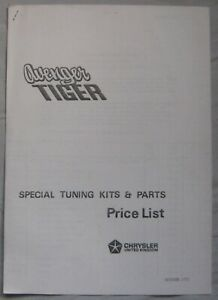 1973 Chrysler Avenger Tiger Special Tuning kits & parts Price List