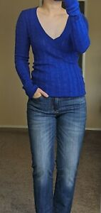 NEW AMERICAN EAGLE Blue V Neck Long Sleeve Cable Knit Soft Long Sweater Small