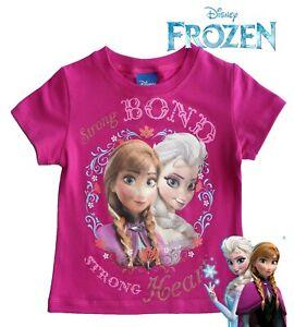 Disney Princess Elsa  Anna Strong Bond Strong Heart Girls T Shirt Top Dark Pink