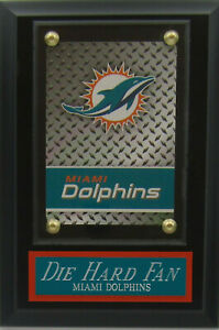 DIE HARD FAN MIAMI DOLPHINS LOGO CARD PLAQUE FOR YOUR MAN CAVE WALL DECOR