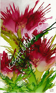 """Original Custom and Print Alcohol Ink """"Field of Pink"""" Floral Flower Painting"""