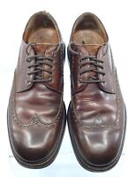 Johnston Murphy Passport Oxford Mens 9.5M Brown Leather Wingtip Dress Shoe Italy