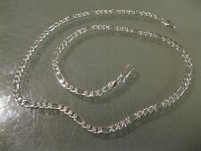 "4MM  Sterling Silver  Figaro Necklace Chain 18"" inch Fashion Men Women"