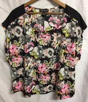Forever 21+ Plus Floral Top Blouse Black Pink Yellow Size 2X