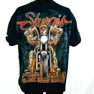 2019 Official Sturgis Black Hills Rally Headdress Biker Short Sleeves T-Shirt XL
