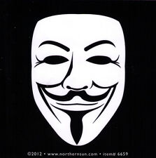 Guy Fawkes Face - Small Bumper Sticker / Decal