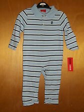 Izod 100%Cotton L/S Collared Striped Full Length Suit 6-9mths 68cm Blue Mix BNWT