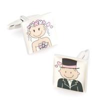Bride & Groom Cartoon Wedding Cufflinks