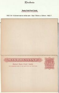 c.1893 MASHONALAND 1d UNUSED POSTAL STATIONERY COMPLETE REPLY CARD (RHODESIA)