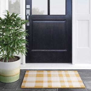 Threshold 2' X 3' Outdoor Reversible Accent Rug Yellow White Plaid Door Mat