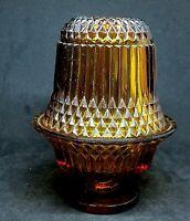 Vintage Diamond Point Indiana Amber Glass Fairy Candle Holder Lamp Tea Light