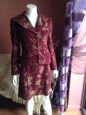 DOLCE & GABBANA BURGUNDY GOLD Floral  Blazer Skirt Suit Sz 40