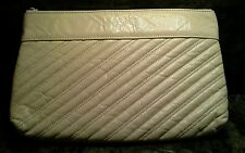 Genuine Leather Clutch - 60's Vintage - Quilted - Ivory