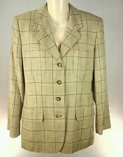 JONES NEW YORK Tan Plaid Lined Button Front Blazer Size 8 P Petite