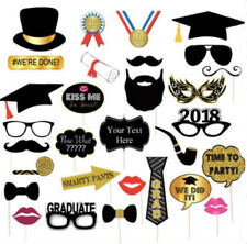30PCS Gold 2018 Graduation Party Masks Photo Booth Props Mustache On A Stick