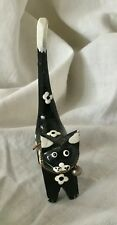 Porta anelli gatto nero e bianco legno con campanello