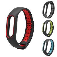 For Xiaomi Mi Band 2 Double Color Soft Silicone Bracelet Wrist Strap Wristband
