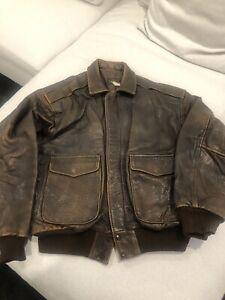 Mens Leather Bomber Jacket Brown Size L