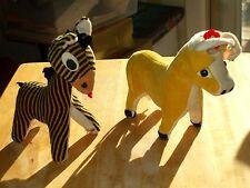 2 Vintage Stuffed Velvet Sawdust Filled Animals Bull and Zebra  #pk45