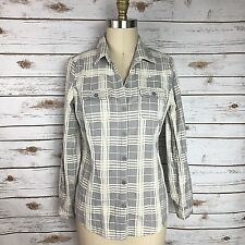 I Love Ronson Gray White Plaid Long Roll Sleeve Button Down Women's Size Small